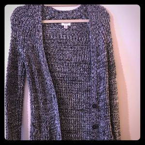 Long black and white knitted cardigan